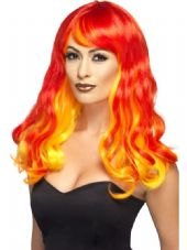 Ombre Wig In Red, Orange & Yellow - Devil Flame